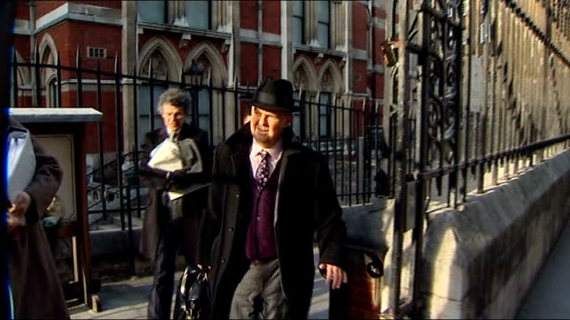 leveson inquiry into media ethics and phone hacking ian hislop departure england london high court ext ian hislop departs court and along street - ian hislop stock videos and b-roll footage