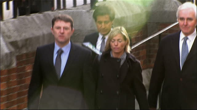 leveson inquiry into media ethics and phone hacking more evidence heard england london high court ext kate mccann and gerry mccann arriving at court... - kate mccann stock videos & royalty-free footage