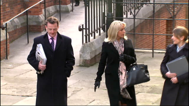 leveson inquiry into media ethics and phone hacking more evidence heard *** warning sheryl gascoigne arriving at leveson inquiry - sheryl gascoigne stock videos and b-roll footage