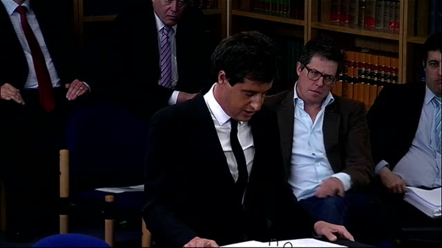 leveson inquiry into media ethics and phone hacking: police evidence on milly dowler; england: london: int david sherborne reading statement from... - 不祥事点の映像素材/bロール