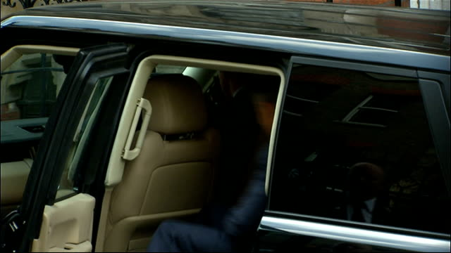 Leveson inquiry into media ethics and phone hacking Tony Blair gives evidence EXT Blair waving and getting in car Car carrying Blair driving away and...