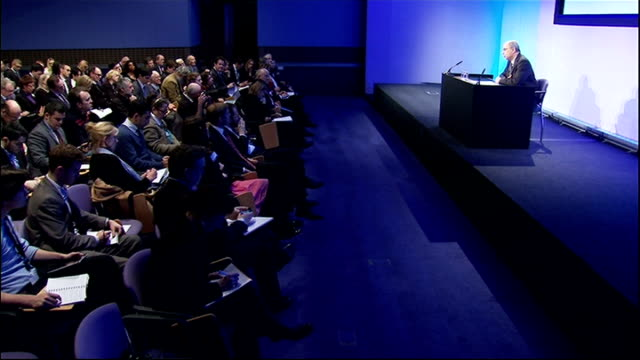 lord leveson statement cutaways england london queen elizabeth ii conference centre int various cutaways of lord justice leveson press conference to... - conference phone stock videos & royalty-free footage