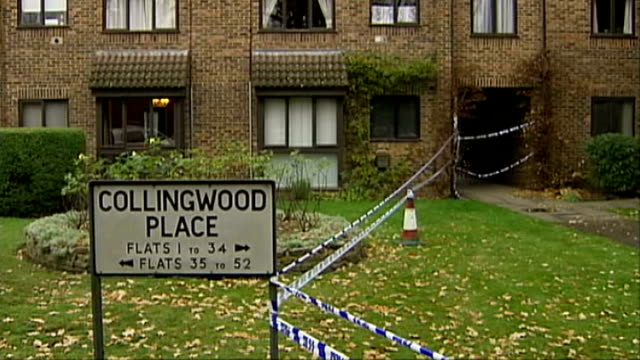 levi bellfield convicted of milly dowler's murder; t28110449 surrey: walton on thames: cordoned-off area and sign 'collingwood place' police car... - levi's stock videos & royalty-free footage
