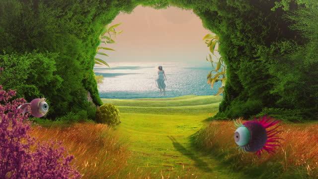 levitation in fairy garden - dreamlike stock videos & royalty-free footage