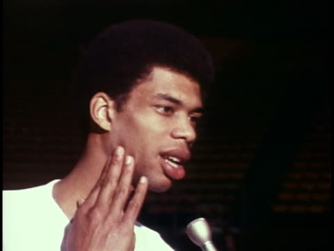 lew alcindor ucla basketball standout says he hopes that he is more mature now than when he first arrived at the university joking about possibly... - sport stock videos & royalty-free footage