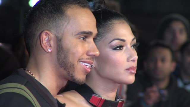 lewis hamilton nicole scherzinger at 'jack reacher' world premiere at odeon leicester square on december 10 2012 in london england - lewis hamilton nicole scherzinger stock videos and b-roll footage