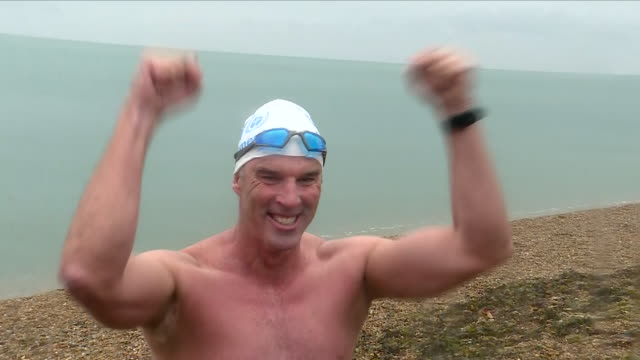 lewis pugh has been described as a modernday hero for completing a 330mile swim along the english channel his feat of physical endurance also had a... - english channel stock videos & royalty-free footage