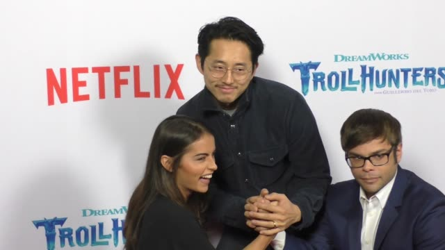 Lexi Medrano Steven Yeun Charlie Saxton promoting Trollhhunters at The Grove in Hollywood in Celebrity Sightings in Los Angeles