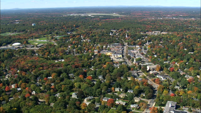 lexington  - aerial view - massachusetts,  middlesex county,  united states - minuteman statue lexington stock videos & royalty-free footage