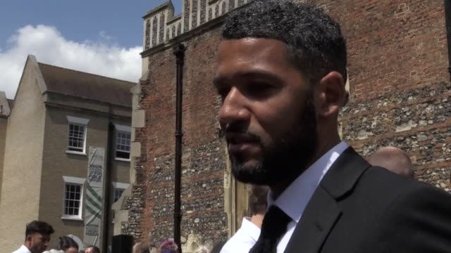 leyton orient fc captain jobi mcanuff pays tribute to justin edinburgh after speaking at his memorial service at chelmsford cathedral essex - leyton orient f.c stock videos and b-roll footage