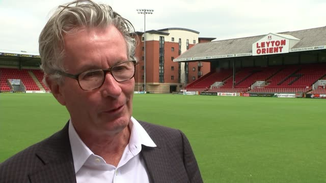 leyton orient new owner nigel travis positive about future of club leyton brisbane road stadium nigel travis interview sot - leyton orient f.c stock videos and b-roll footage