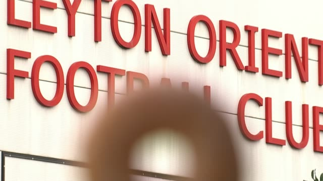 leyton orient new owner nigel travis positive about future of club england london leyton brisbane road stadium ext gvs brisbane road stadium seen... - leyton orient f.c stock videos and b-roll footage