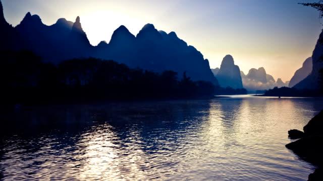 li river in the morning - li river stock videos & royalty-free footage