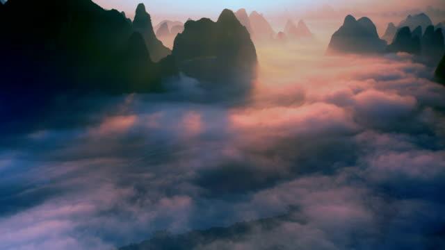 Li river's dawn and cloud sea