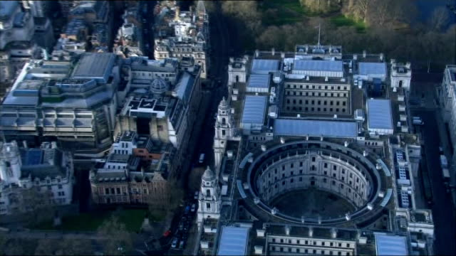 liam byrne's infamous 'no money' note seen for first time; england: london: ext air view hm treasury buliding - infamous stock videos & royalty-free footage