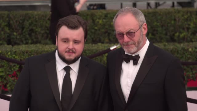 liam cunningham and john bradley at the 22nd annual screen actors guild awards - arrivals at the shrine auditorium on january 30, 2016 in los... - shrine auditorium stock videos & royalty-free footage