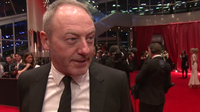 liam cunningham on being there the guard on celebrating irish cinema on nomination at the iftas at convention centre dublin ireland on february 11th... - liam cunningham stock videos & royalty-free footage