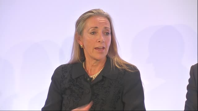 liam fox and baroness fairhead speeches; england: london: int adam marshall introducing q&a session with dr liam fox mp , rona fairhead and john... - baroness stock videos & royalty-free footage