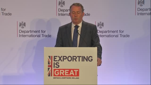liam fox and baroness fairhead speeches; england: london: int dr liam fox mp speech sot. - baroness stock videos & royalty-free footage