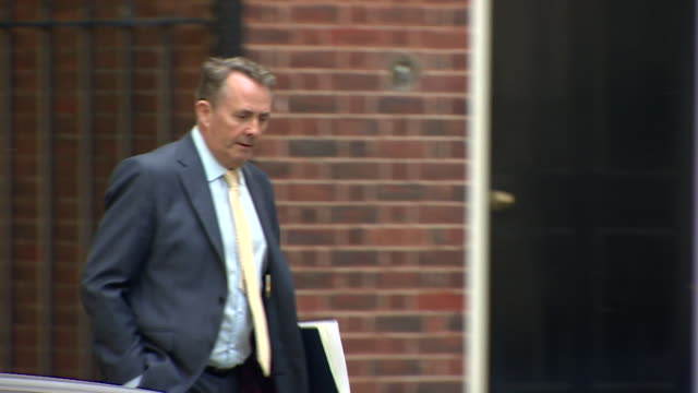 liam fox entering 10 downing street - liam fox politician stock videos and b-roll footage