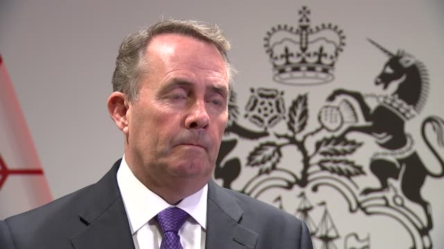 London Westminster INT Liam Fox MP interview SOT re Brexit / future trade policy / customs union