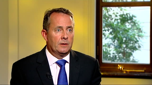 liam fox interview on libya conflict england london whitehall int liam fox mp interview sot on overnight action / raf launched attack on major bunker... - nackenrolle kopfkissen stock-videos und b-roll-filmmaterial