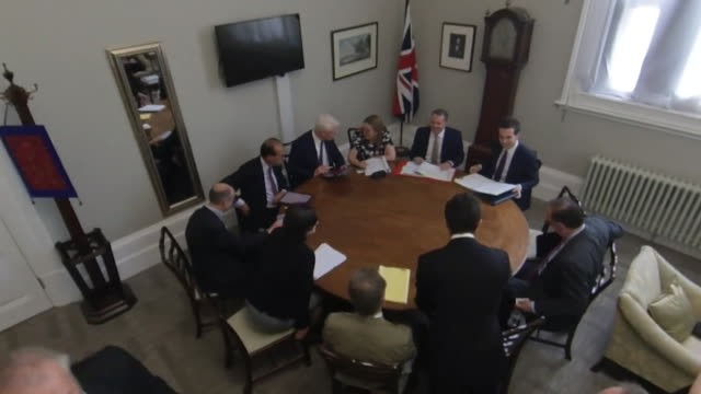 liam fox mp international trade secretary chairs weekly no deal brexit ministerial meeting - global politics stock videos & royalty-free footage