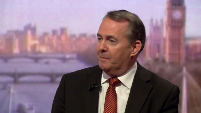 liam fox saying the eu has changed its position on the northern ireland backstop from a permanent arrangement to temporary and that now the priority... - liam fox politician stock videos and b-roll footage