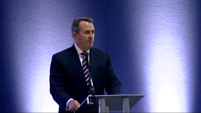 liam fox speech at the dsei conference in london; england: london: excel centre: int **beware flash photography** dr liam fox mp speech sot - it is a... - security equipment stock videos & royalty-free footage