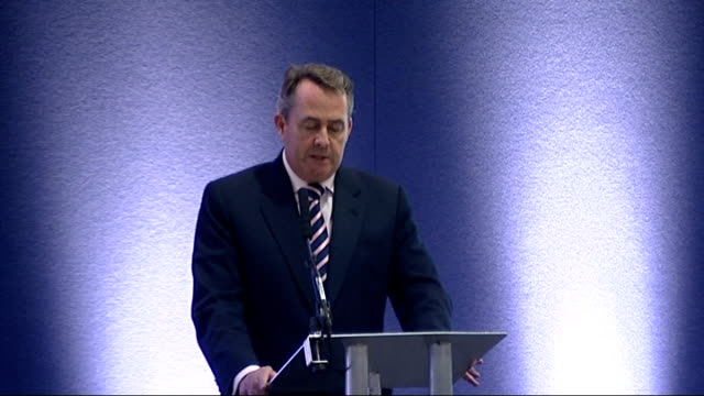 liam fox speech at the dsei conference in london; fox speech sot - the government's commitment to a 1 per cent real terms increase in the defence... - foxhound stock videos & royalty-free footage