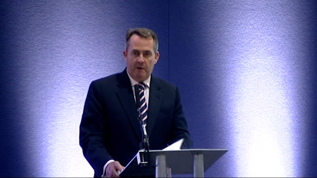 liam fox speech at the dsei conference in london fox speech sot that balance has not always existed in the past as a measure of our determination to... - paper industry stock videos & royalty-free footage