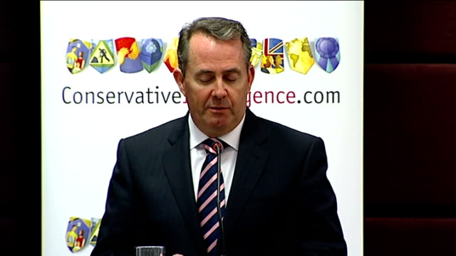 london commonwealth club int dr liam fox speech sot want to begin and end with money / despite benign economic environment between 20027 uk national... - peacetime stock videos & royalty-free footage