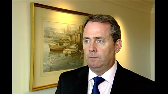 liam fox speech on afghanistan at the heritage foundation usa washington dc int liam fox mp interview sot we have to remind people why we are there... - reminder stock videos and b-roll footage