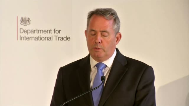 liam fox speech talks up uk trade prospects after brexit manchester int liam fox mp speaking on stage at event liam fox mp speech sot my message... - commercial event stock videos and b-roll footage