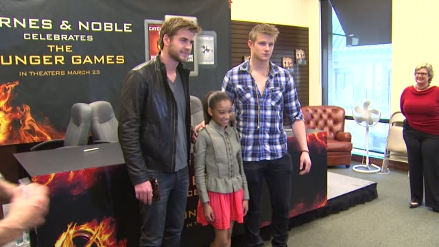 liam hemsworth amandla stenberg alexander ludwig at barnes noble celebrates the hunger games los angeles release on 3/22/12 in los angeles ca - barnes & noble stock videos and b-roll footage