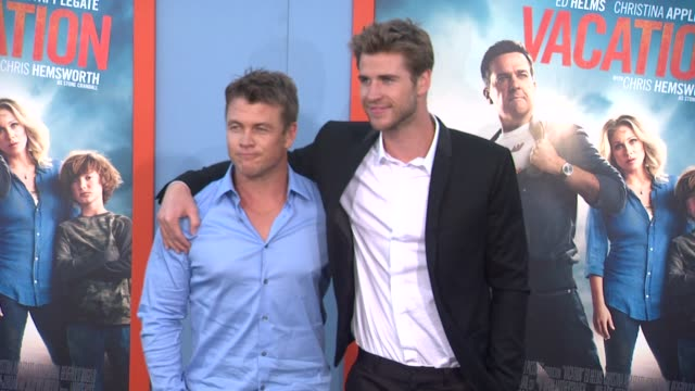 liam hemsworth and luke hemsworth at the vacation los angeles premiere at regency village theatre on july 27 2015 in westwood california - regency village theater stock videos and b-roll footage