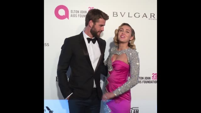 Liam Hemsworth and Miley Cyrus at the Elton John AIDS Foundation Presents the 26th Annual Academy Awards Viewing Party