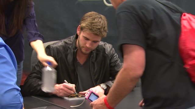 liam hemsworth at barnes noble celebrates the hunger games los angeles release on 3/22/12 in los angeles ca - barnes & noble stock videos and b-roll footage