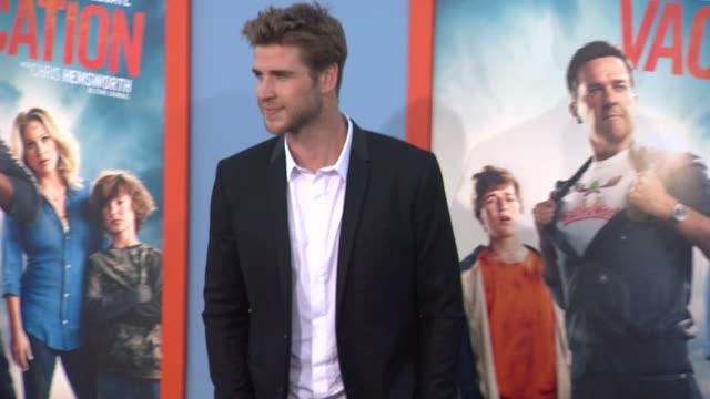 """liam hemsworth at the """"vacation"""" los angeles premiere at regency village theatre on july 27, 2015 in westwood, california. - regency village theater stock videos & royalty-free footage"""