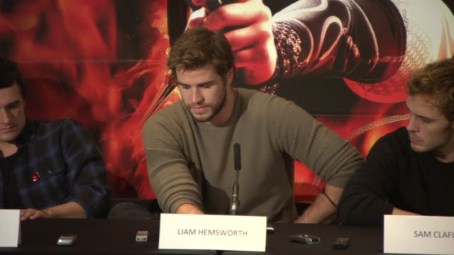 INTERVIEW Liam Hemsworth Josh Hutcherson Stanley Tucci Sam Claflin Jeffrey Wright on being a male actor in a female driven story at 'The Hunger Games...