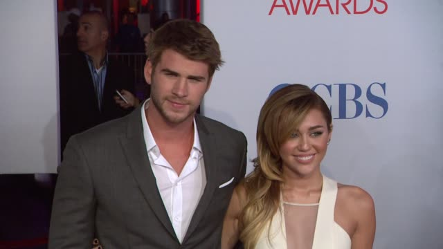 Liam Hemsworth Miley Cyrus at 2012 People's Choice Awards Arrivals on 1/11/12 in Los Angeles CA