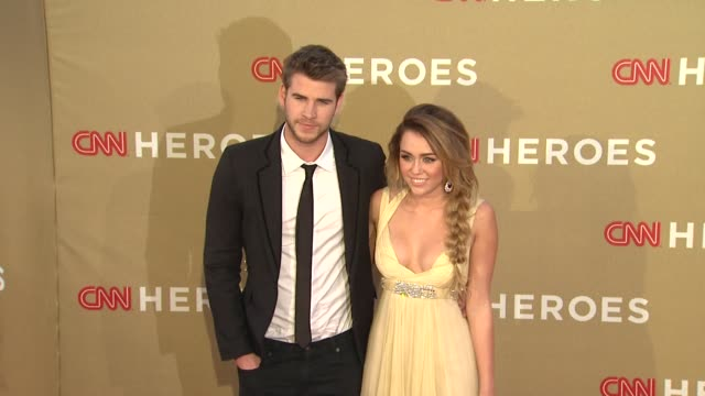 liam hemsworth miley cyrus at cnn heroes an allstar tribute on 12/11/11 in los angeles ca - cnn stock videos & royalty-free footage