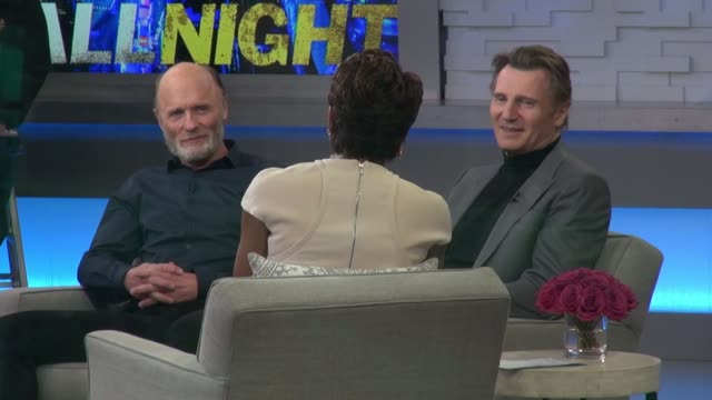Liam Neeson and Ed Harris on set of the Good Morning America show in Celebrity Sightings in New York
