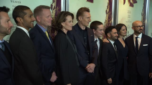 Liam Neeson Sigourney Weaver Lewis MacDougall J A Bayona Patrick Ness and others at A Monster Calls New York Premiere Presented By Focus Features at...