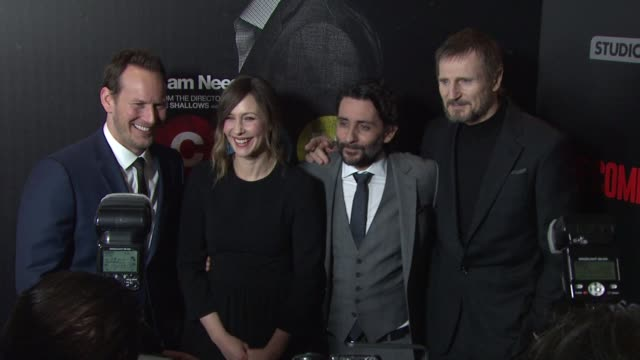 liam neeson vera farmiga patrick wilson jaume colletserra at lionsgate presents the nyc premiere of the commuter at amc loews lincoln square on... - amc loews stock videos and b-roll footage