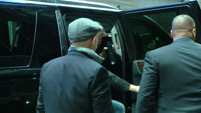 liam neeson walking into good morning america studios in new york - good morning america stock videos and b-roll footage