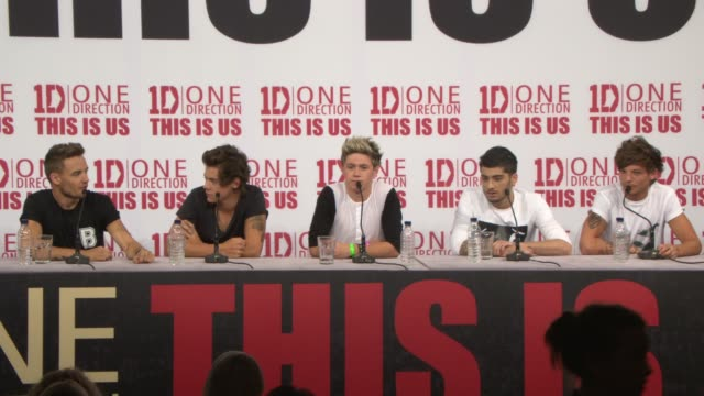 interview liam payne louis tomlinson niall horan on how they spend their time off at 'this is us' one direction press conference on august 19 2013 in... - boy band stock videos & royalty-free footage