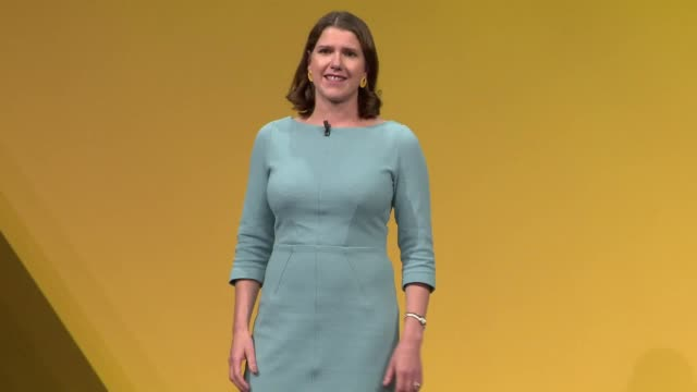 lib dem leader jo swinson closes the liberal democrat party conference saying at the next general election her plan is to stop brexit and end the... - populism stock videos and b-roll footage