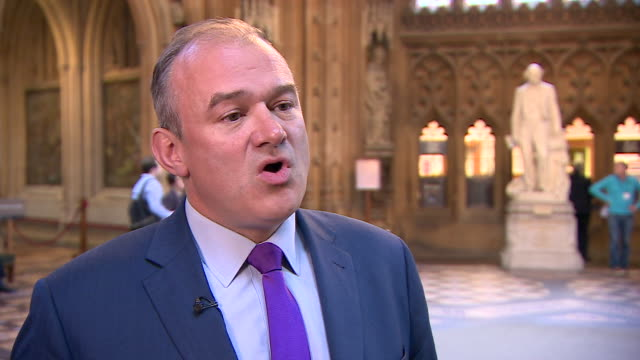 lib dem mp edward davey saying he will not support theresa may's new brexit withdrawal bill as he wants the opportunity to stop brexit through a... - bill legislation stock videos & royalty-free footage