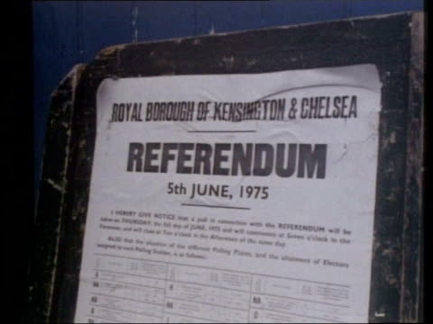 lib kensington: notice on board re referendum on 5.6.75 tgv votes being counted in hall - referendum stock videos & royalty-free footage